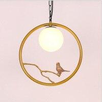 L Chinese bird chandelier creative romantic theme restaurant chandelier room bedroom decoration lamps led copper lamp led