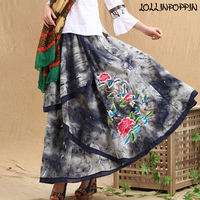 Floral Embroidery Chinese Style Tie Dye Womens Cotton & Linen Long Skirt Elastic Waist Irregular Layered Skirts Ethnic