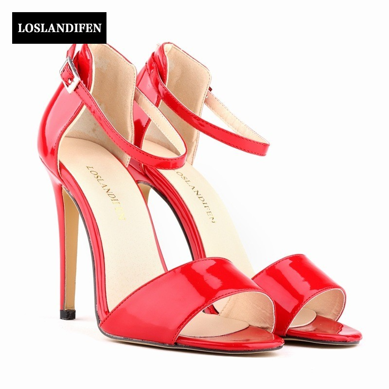 Summer New Arrival High Heel Women Dress Shoes Elegant Open Toe Patent Leather Buckle Strap Sandals Chaussure Femme цена и фото