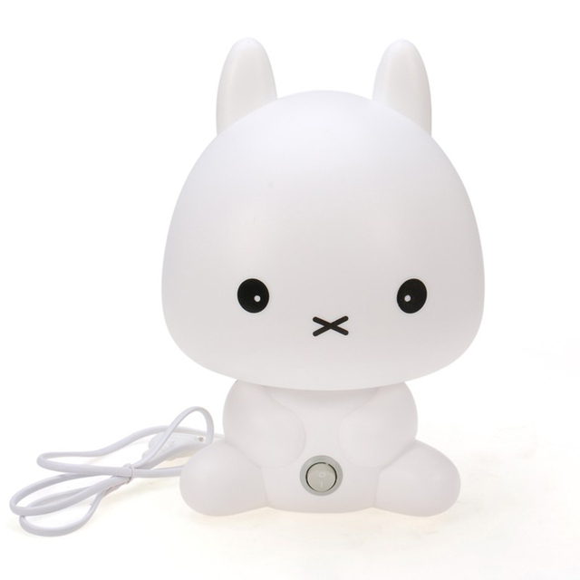 kids room lamp Cartoon Animal Rabbit nightlight romantic night light for children PVC reading bed light Bulb desktop lamp