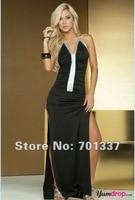 Sexy Frauen schwarz rot Split Langes Kleid V-Ausschnitt Party Club tragen LS692 One Size