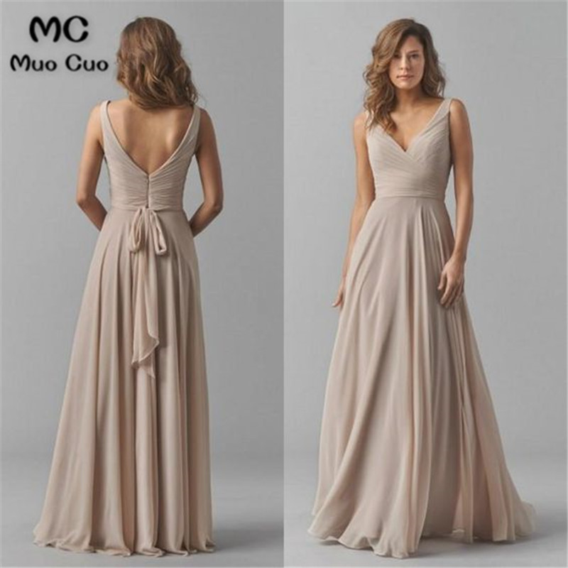 2019 Vintage   Bridesmaid     Dresses   V-Neck Wedding Party   Dress   Pleat Chiffon Sleeveless Prom   Bridesmaid     Dresses   for women