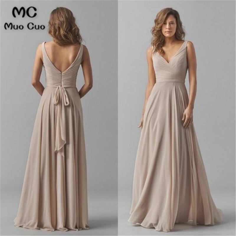 2020 Vintage Bridesmaid Dresses V-Neck Wedding Party Dress Pleat Chiffon Sleeveless Prom Bridesmaid Dresses For Women