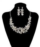 Moda srebrny kwiat dragonfly biżuteria ślubna zestawy austriacki kryształ biżuteria oświadczenie naszyjnik kolczyki dla kobiet bijoux femme