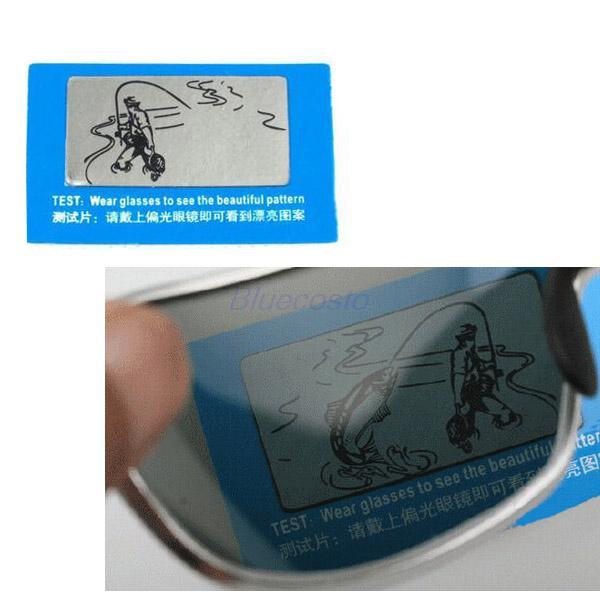 2e67ec63362fe Nova chegada de cartão de teste polarizada óculos polarizados óculos  polarizador de peixe imagem
