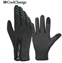 CoolChange  MTB Bike Full Finger Gloves Winter Warm Windproof Outdoor Sports Touch Screen Cycling Anti-Slip