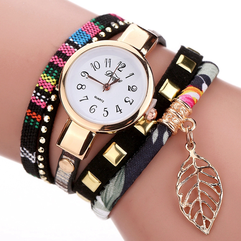 Duoya 2017 Fashion Ladies Watches Women Luxury Leaf Fabric Gold Wrist For Women Bracelet Vintage Sport Dress Clock Watch Gift