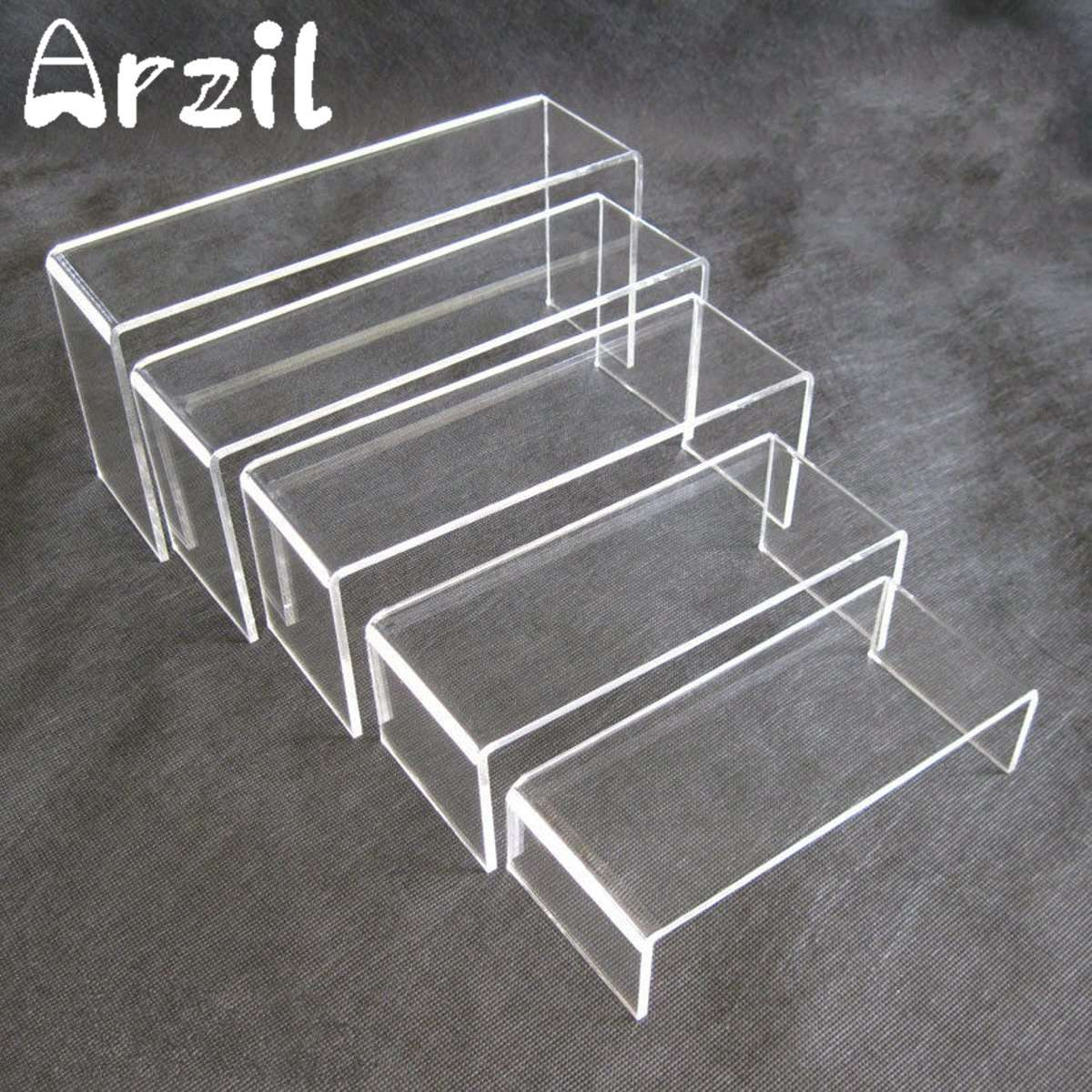 5pcsset clear acrylic perspex jewellery display rack holder riser set stand showcase storage shelf 4mm thickness