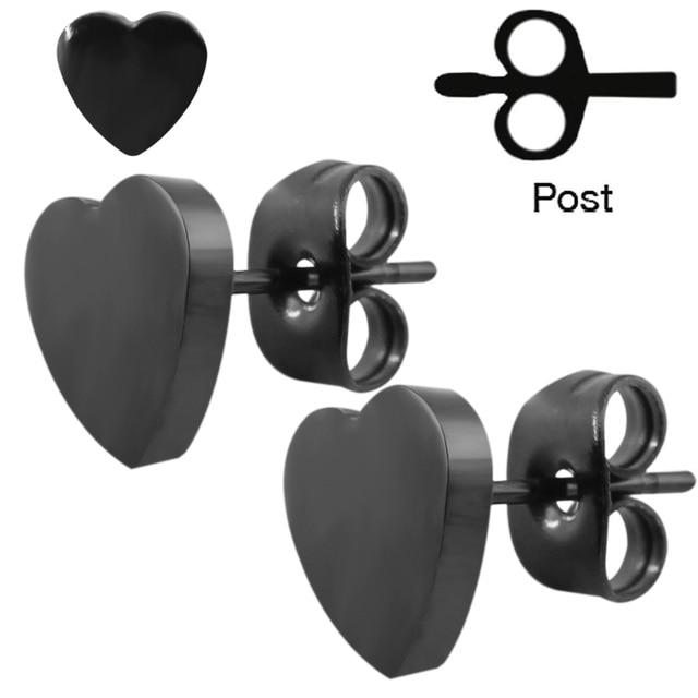 1 Pair Atractivo Black Stud Earrings For Women Men Heart Shape Ear Piercing Studs High