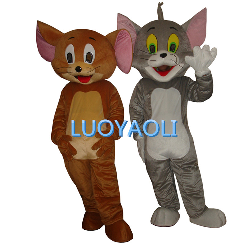 Jerry Mouse&Tom Cat Cartoon Mascot Costume/Clothing/Halloween/Reality Mouse&Tom anime/Christmas Party