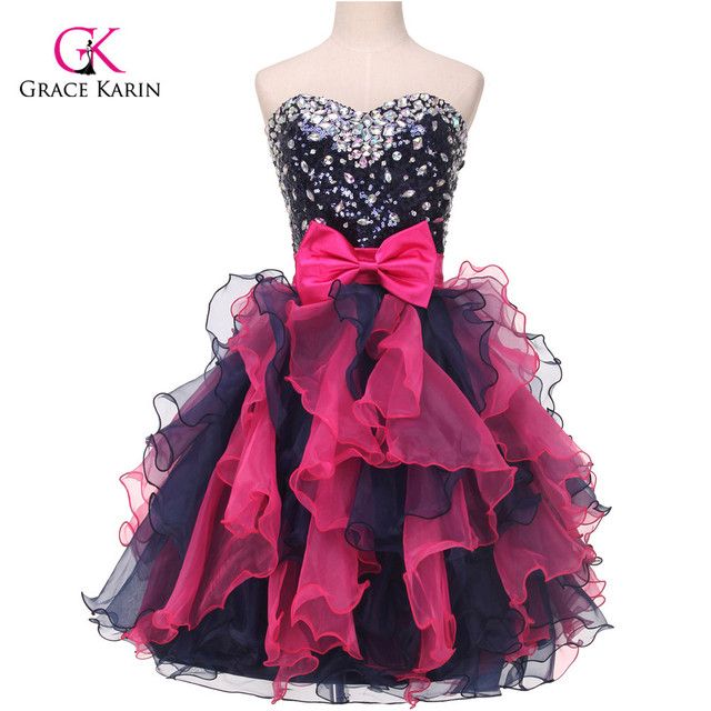 Grace Karin Sequins Ombre Short Prom Dresses Organza Sexy Sweetheart ...