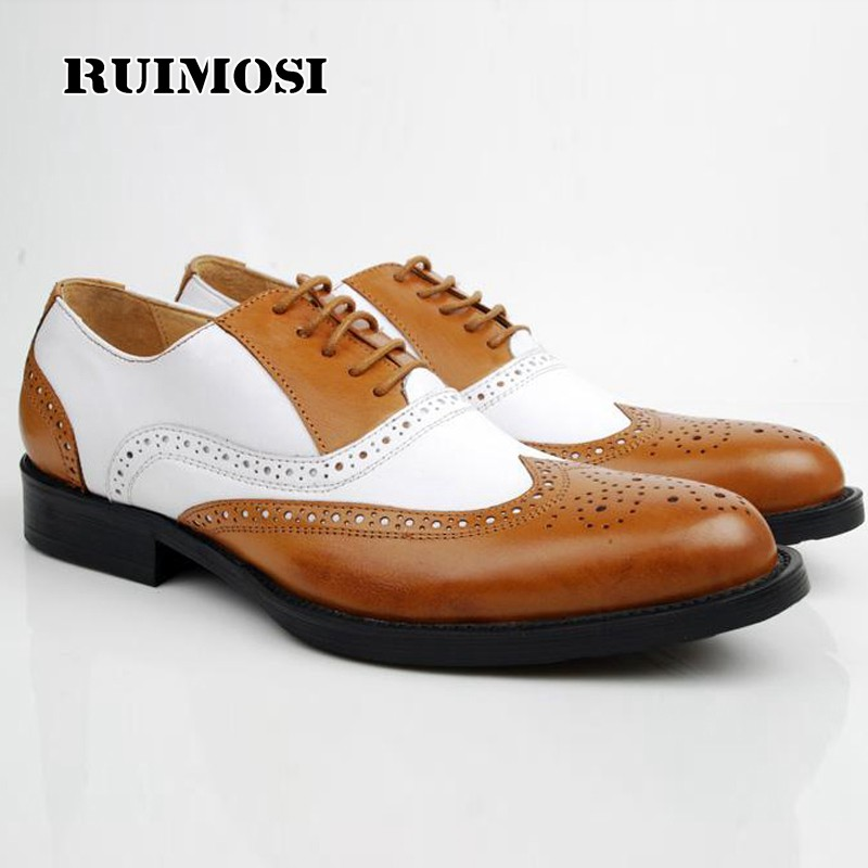 RUIMOSI Luxury Mixed Colors Brand Man Dress Shoes Genuine Leather Brogue Oxfords Round Toe Formal Men's Wing Tip Flats BD42