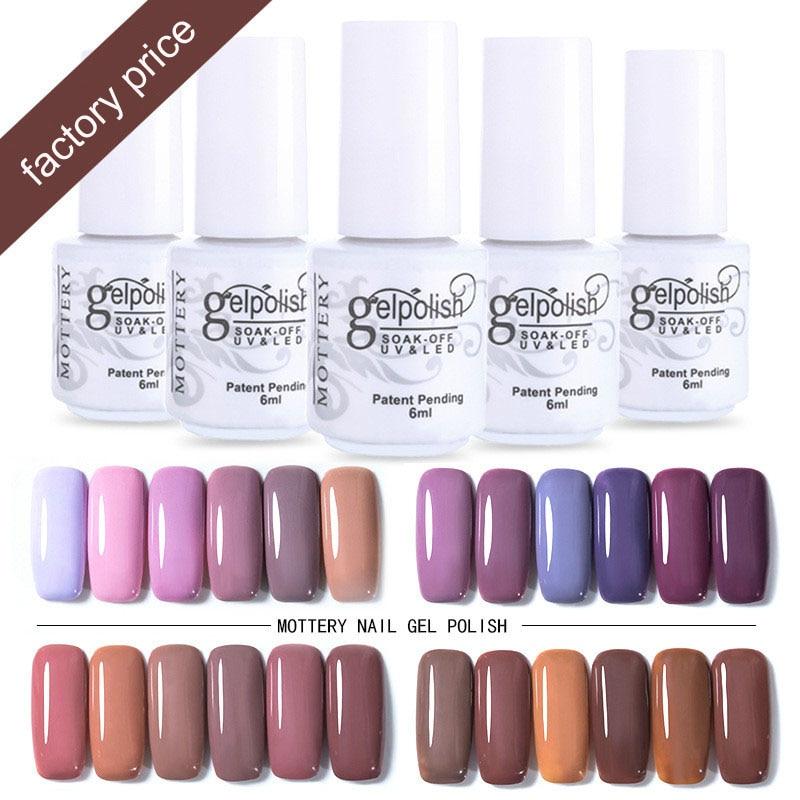 Mottled Brand Gel Nail Art Polish Led Nail Polish UV Colors Vernis Semi Permanent Hybrid Nail Polish Set Gel 252 Colors 6ml