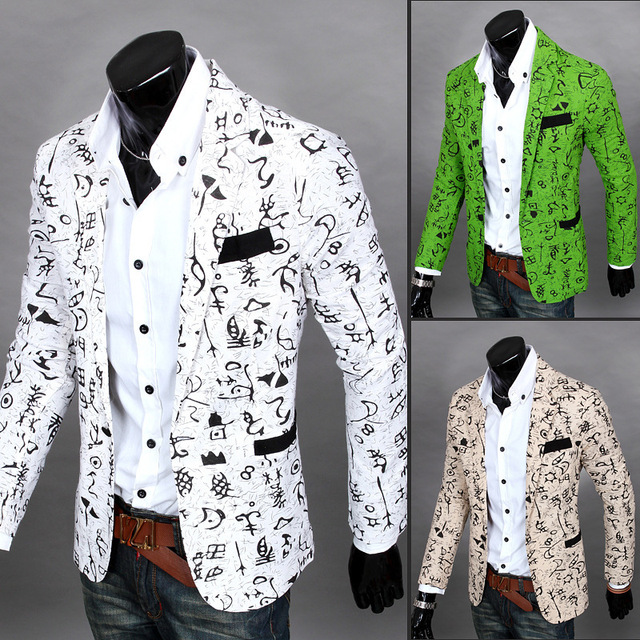Men blazer slim fit 2016 suit men Cotton and linen flower cloth color matching leisure jacket men suit