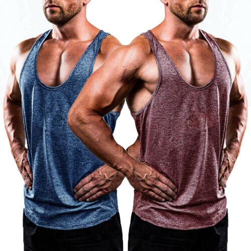 Men/'s Gym Bodybuilding Tank Top  Fitness Muscle Sleeveless Cotton T-shirt Vest