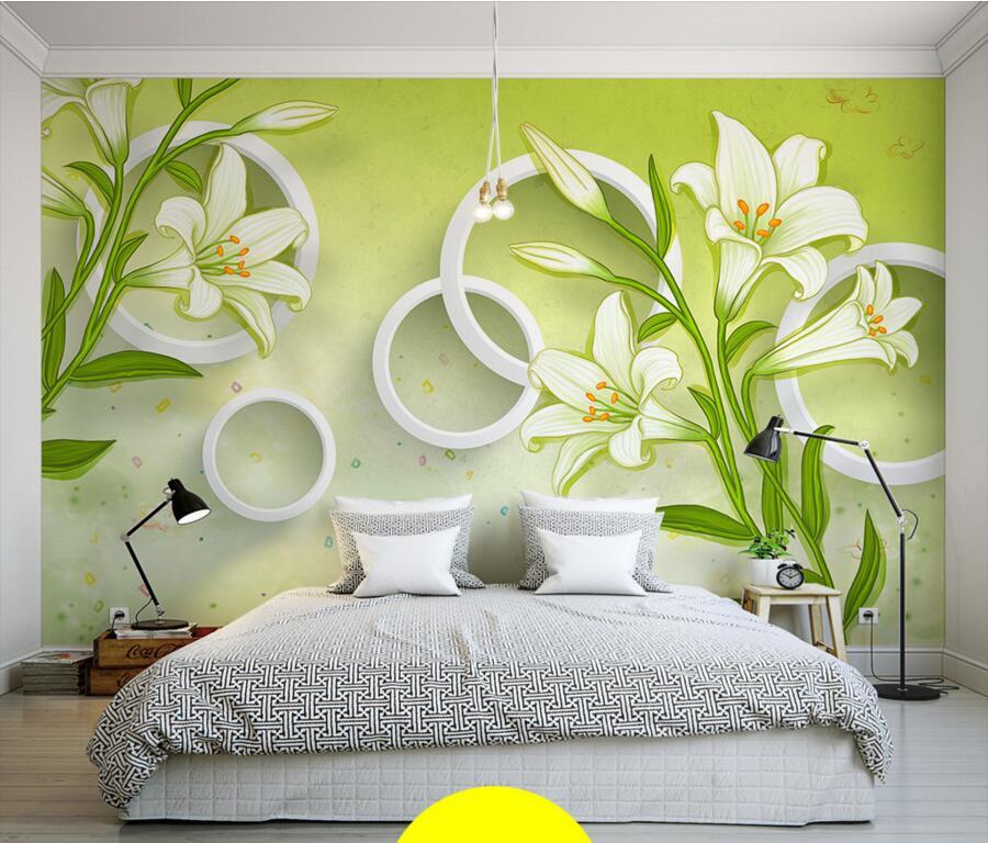 Custom large murals,3D stereo circle background lily flowers modern wallpaper,living room sofa tv wall  bedroom papel de parede dissolved oxygen sensor kds 25b 100% new