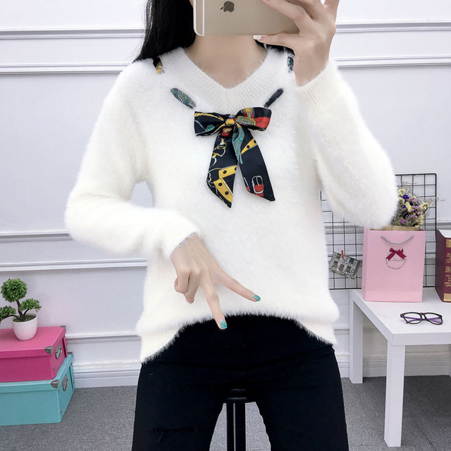 Ladychili Women s Soft Winter Keep Warm Mohair Sweater Knit Pull Over  Sweater Top with Silk Bow ea2813a0f