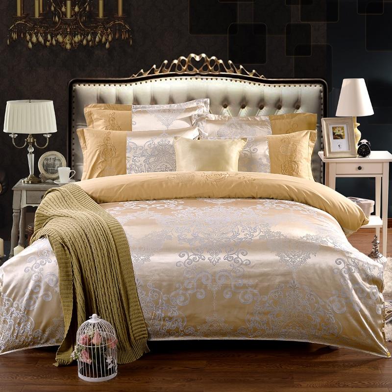 Luxury Jacquard Silk Cotton Bedding Set 4pcs Gold Satin Comforter Bed Duvet  Cover Sets King Queen. Popular Satin Comforter Cover Buy Cheap Satin Comforter Cover lots