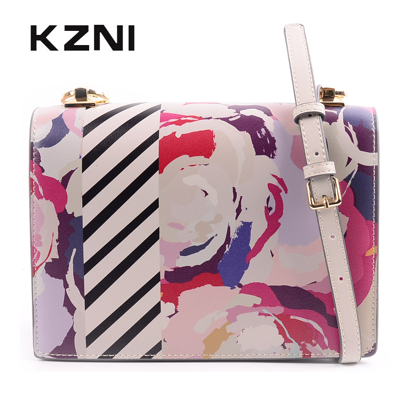 KZNI Real Leather Floral Print Clutch Cross Shoulder Bags with Chain Cross Shoulder Bags Female High Quality Bolsos Mujer 9139 random floral print off shoulder top with layered details