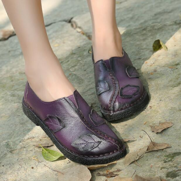 Careaymade new folk style retro handmade Top layer Genuine leather women 39 s shoes soft bottom shallow mouth leisure shoes 4color in Women 39 s Flats from Shoes