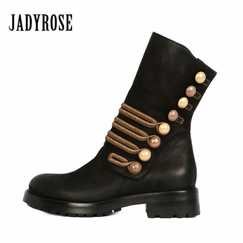 Jady Rose Retro Handmade Suede Women High Boot Button Decor Winter Martin Boots Female Mid-Calf Platform Rubber Shoes Woman jady rose vintage brown women genuine leather mid calf boot chunky high heel platform boots straps buckle decor martin botas