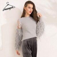 Gracegirl 2017 Autumn Women Sweaters Series Winter Lace Patchwork Fashion Jumper For Woman Lantern Full Sleeve