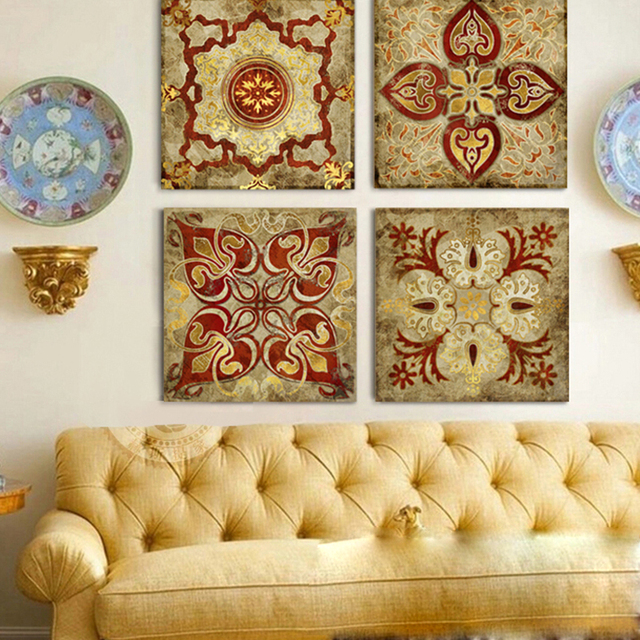 4 Piece Canvas Art Moroccan Style Gold National India Home Decor Painting  Canvas Pictures For Living Room Posters And Prints
