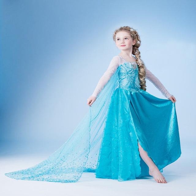 2017 primavera e outono das crianças Congelado vestido da menina de vestido de princesa neve mostrar as crianças se vestem