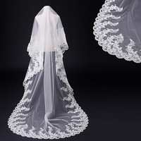 Fishday Bridal Wedding Veil In Stock Lace Girls Long Bead Real White Cathedral Accessories Woman Femme Sale Without Clip D30