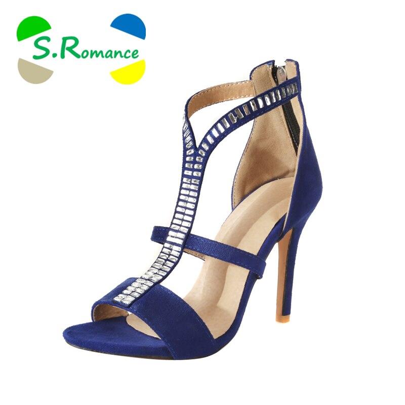 S. romance 플러스 크기 34 43 여성 샌들 새로운 지퍼 패션 높은 뒤꿈치 사무실 레이디 펌프 여자 신발 블랙 레드 블루 ss1045-에서하이힐부터 신발 의  그룹 1