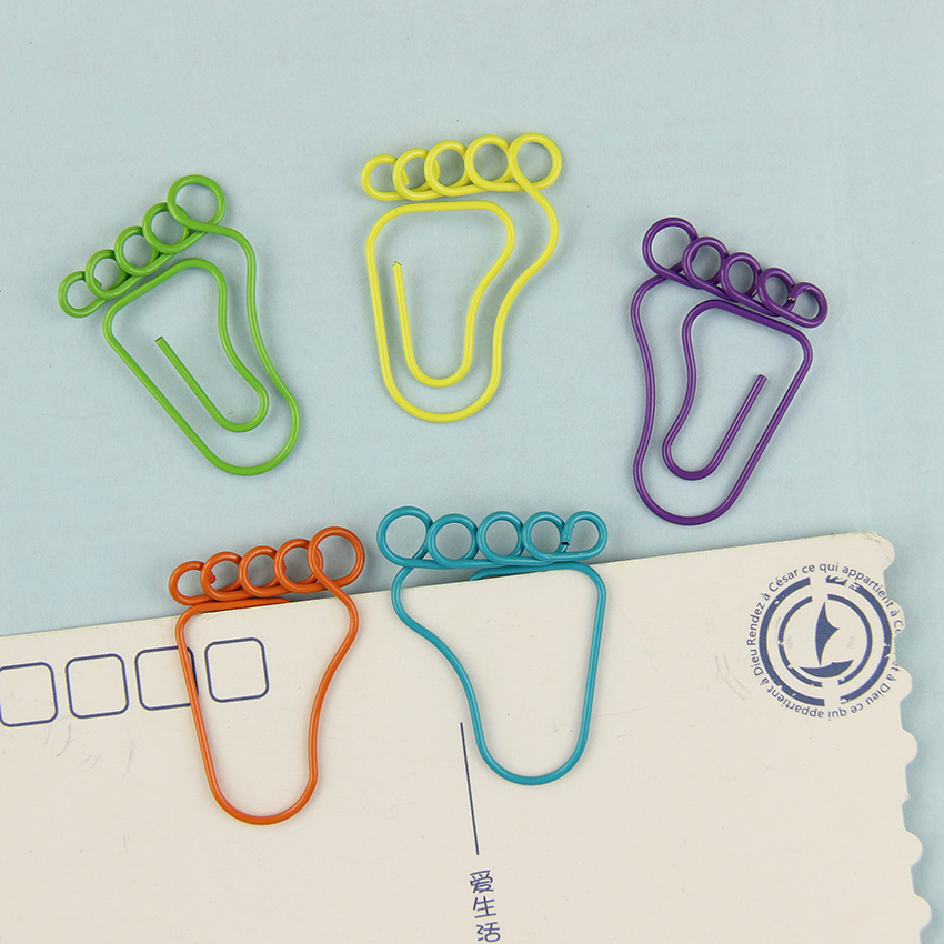 12 PCS/1 Pack Foot Shape Paper Clips Creative Interesting Bookmark Clip Memo Clip Shaped Paper Clips For Office School Home