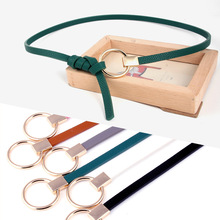 New Women Knotted Ring Waist Belt Thin Fashion Small Woman Dress Decorate Pure Color Leather Round Buckle Holiday Gifts