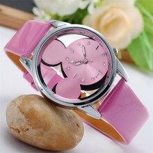 Мода Relojes с Микки Маусом Мышь детей часы прозрачные полые Кварцевые часы Женщины кожаный ремешок наручные часы девушке подарок