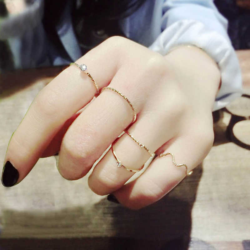 ZMZY Fashion Wave Ring Set Boho Stackable Rings for women Jewelry Bohemian Vintage Gold Color Ring Pinky Bijoux Femme
