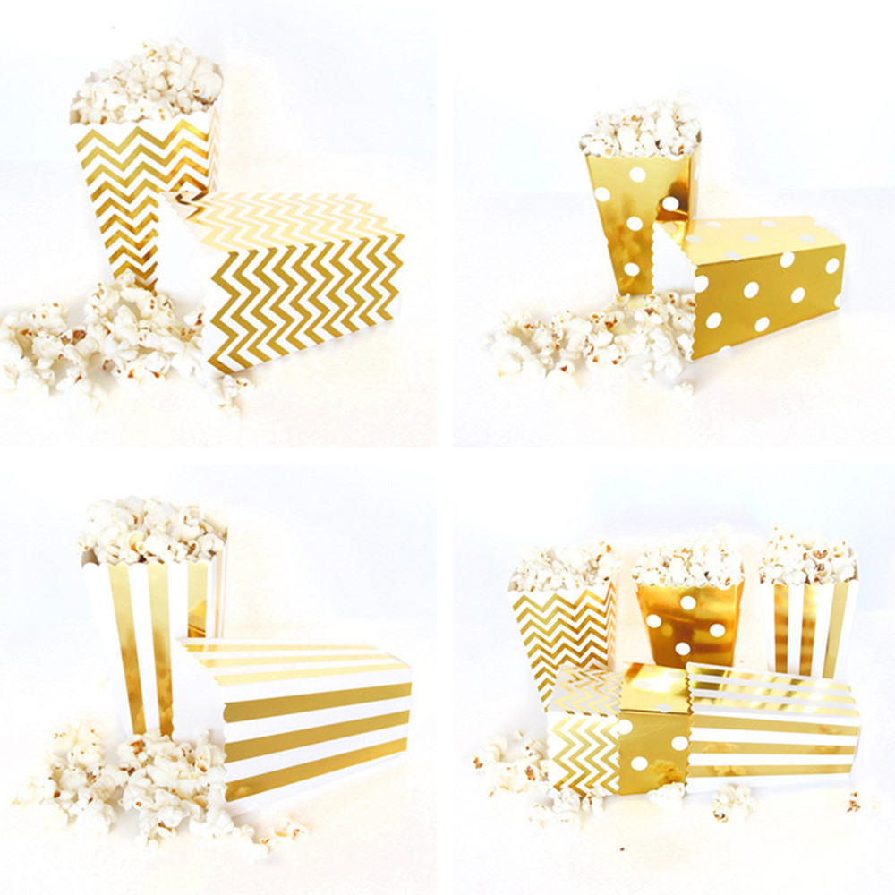 6pcs/pack Gold Silver paper candy popcorn boxes wedding birthday party Disposable tableware Sanck Containers for Movie Supplies