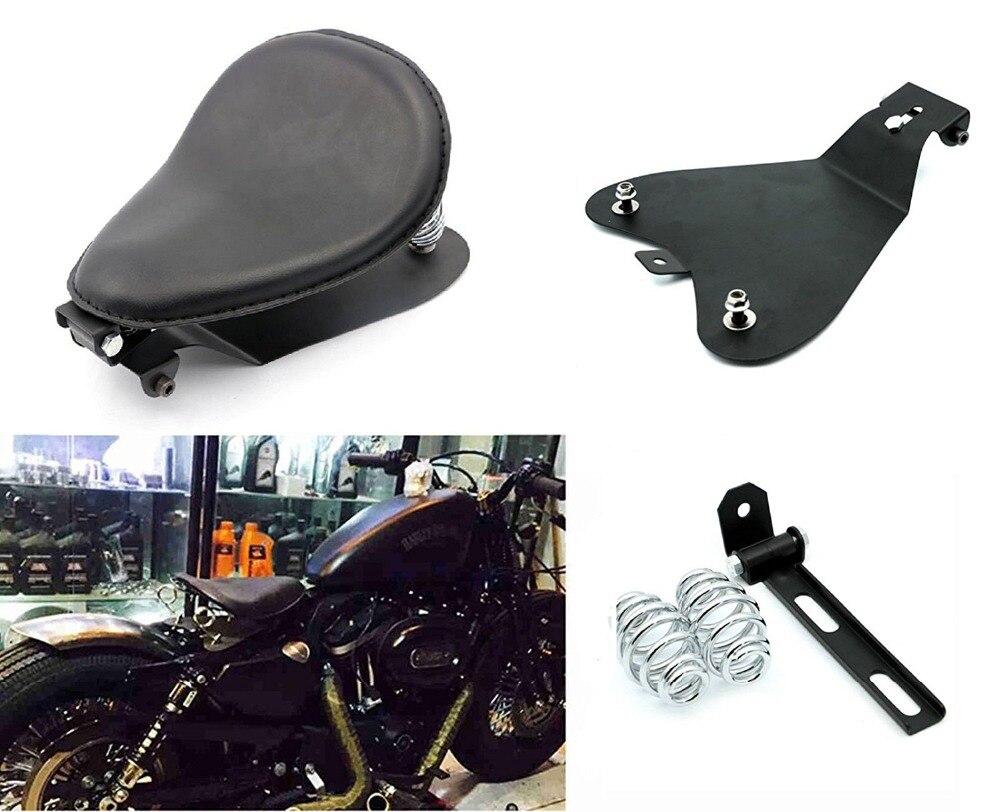 Noir SOLO mince siège support ressort siège Base support Kit baril ressort pour Harley Chopper Bobber personnalisé Dyna Sportster