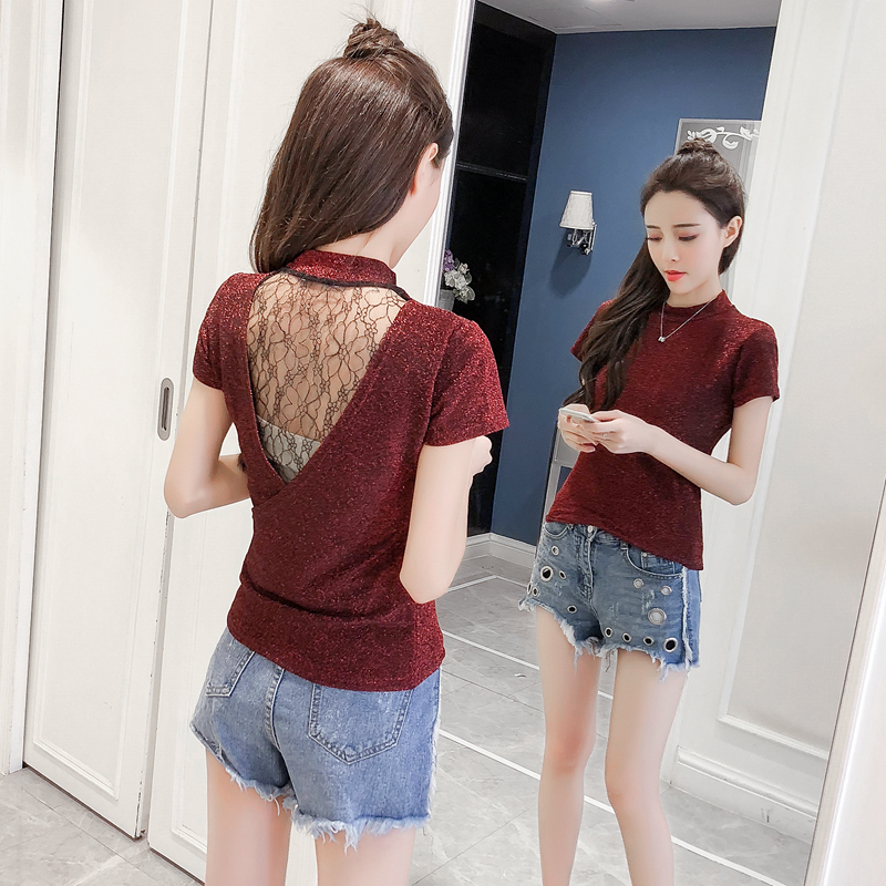 Womens Sexy Backless   Blouse     Shirt   2019 New Fashion Short Sleeve Lace   Blouse   Ladies Tops Blusas Mujer De Moda Chemise Femme