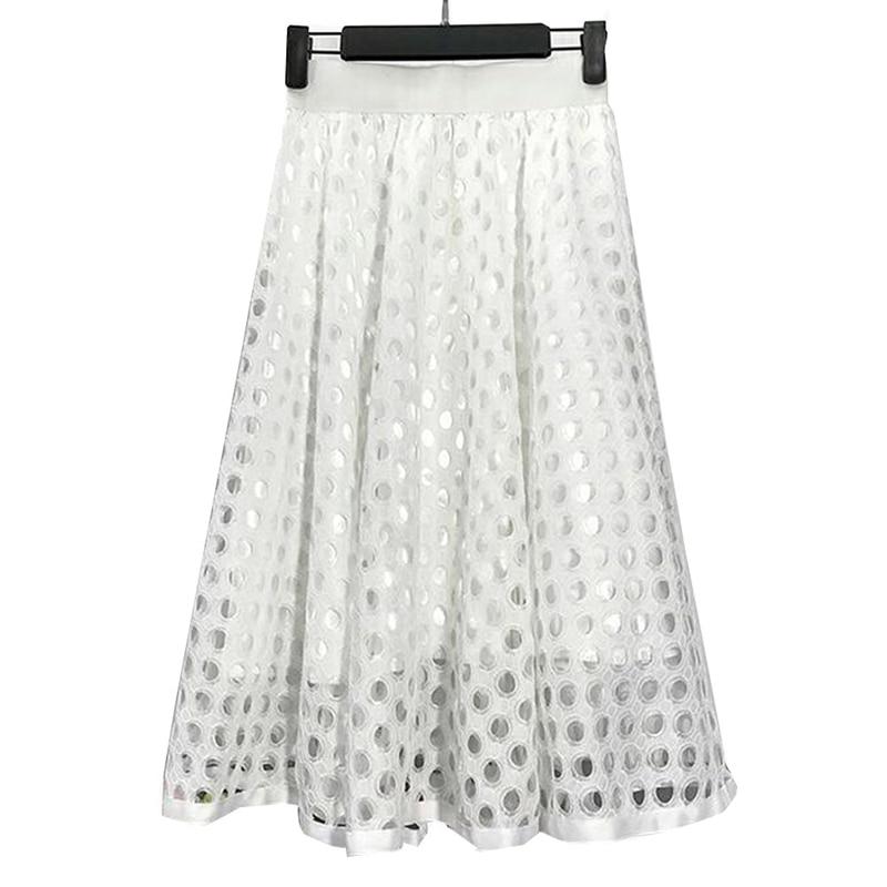 summer new Korean version thin high waist circle hollow lace in the long paragraph a word half skirt Dot Hollow