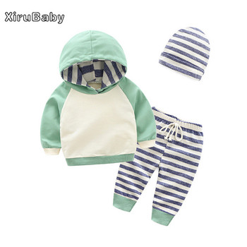 Xirubaby Baby Boys Girls Clothes Sets Autumn Newborn Girls Long Sleeve Hooded Tops+Pants+Hat 3PCS Outfits Set Infant Clothing