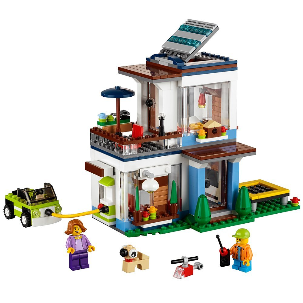 City Creator 3in1 Modular Modern Home Model Building Blocks Bricks kits Kids Classic Toys For Children gift Compatible Legoe