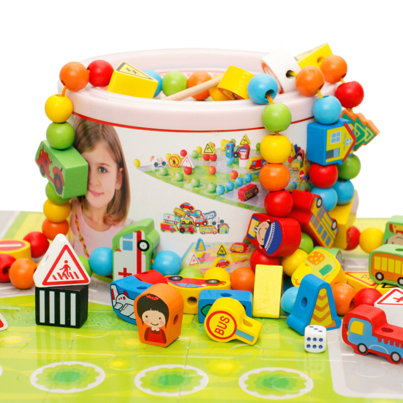 82 pcs / pack Cartoon Animals Wooden Toys Hedgehog Fruit Beads Tying Threading Spheres Game for Baby Kids Children M73