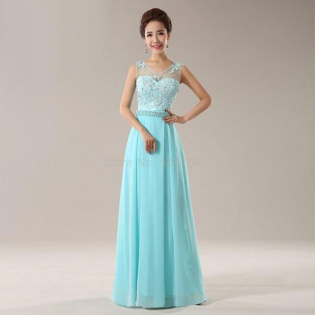 Long Free Shipping Ice Blue Prom Dresses 2017 New Chiffon Wedding Gown  Party Women Dress Back b79c9050f029