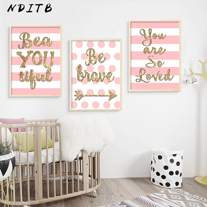 NDITB Baby Girls Nursery Wall Decor Poster Quotes Canvas Art Print Painting Nordic Decoration Picture for Living Room
