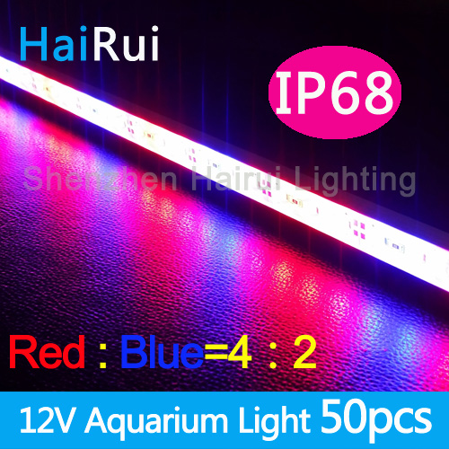 50pcs *0.5m Led Plant grow light  for Hydroponic Systems Waterproof  IP68 DC12V 5730 Led rigid strip 2 Red  1white,1red 2white
