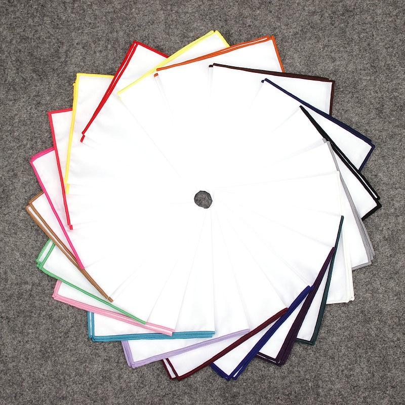 df8ae9e87ba7b KR795-806 20 Colors Men's 100% Cotton Pocket Square White Solid Handkerchief  Chest Towel