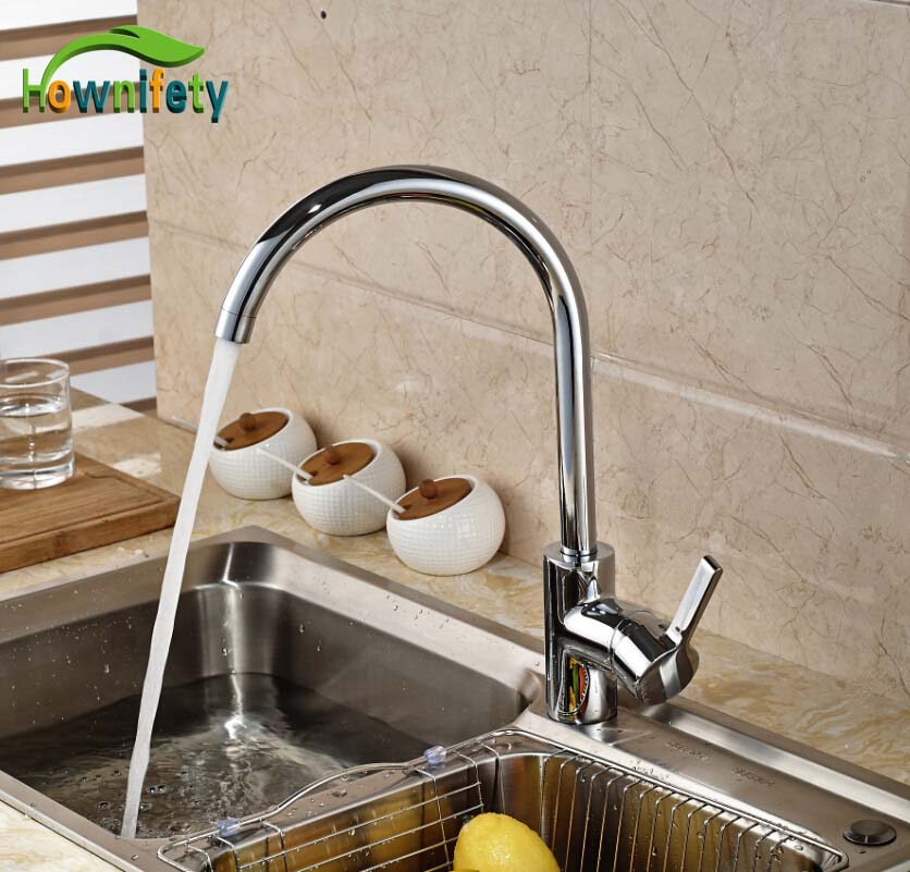 Singel Lever Chrome Finish Kitchen Sink Faucet Single Handle One Hole Swivel Mixer Tap s 113 modern single hole chrome swivel kitchen sink