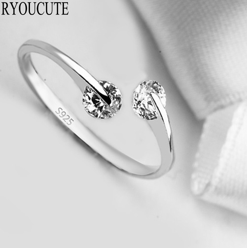 New Fashion Silver Color Cubic Zirconia Rings for Women Adjustable Size Crystal Rings Girls Gifts 1