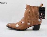Рим звездой embelished Лоскутные женские ботильоны с острым носком обувь на квадратном каблуке весенние женские повседневные короткие сапоги д