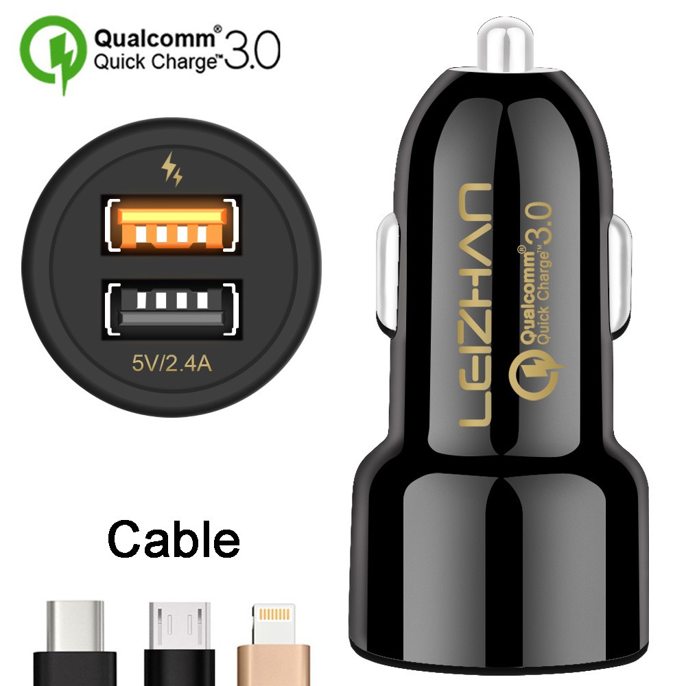 Multiple Fast Charging Samsung and Android Max 30W Output with Qualcomm-Quick Charge 3.0 Car Charger Adapter Black Compatible for iPhone USB Dual Smart Port