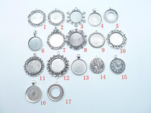 10pcs 25mm antique silver Base Setting Pendant-Trays cabochon Frame cameo Charm,Tray base setting